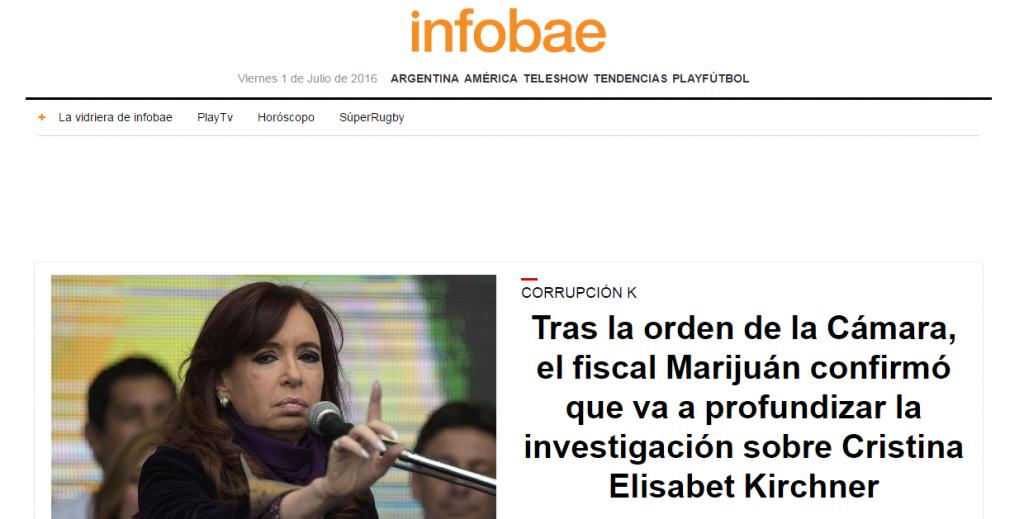 Cristina Elisabet Kirchner - InfoBae - 1-7-16